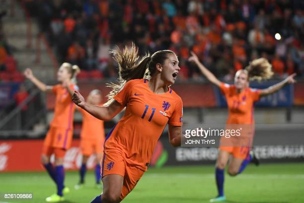 Netherlands' midfielder Lieke Martens celebrates her team's third goal during the UEFA Womens Euro 2017 football tournament semifinal match between...