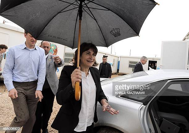 Netherlands' Minister of Foreign Trade and Development Cooperation Lilianne Ploumen visits the UNrun Zaatari refugee camp north east of the Jordanian...