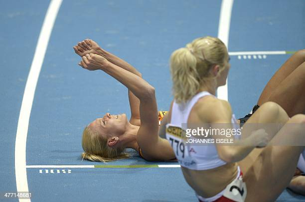 Netherlands' Nadine Broersen celebrates after the 800 m event while winning the Women Pentathlon competition at the IAAF World Indoor Athletics...