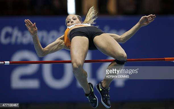 Netherlands' Nadine Broersen competes in women's pentathlon high jump group A at the IAAF World Indoor Athletics Championships in the Ergo Arena in...