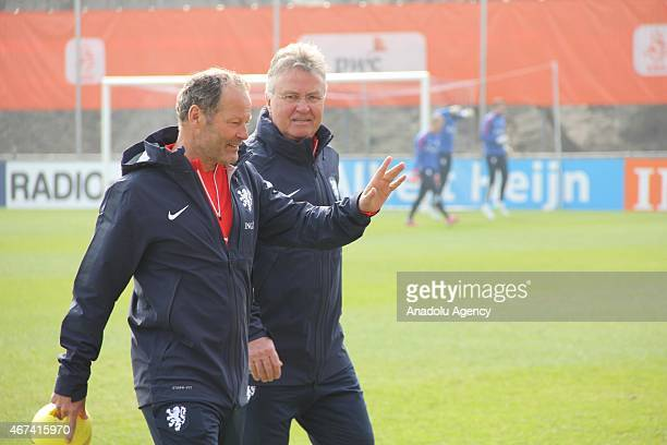 Netherlands national football team coach Guus Hiddink and Danny Blind take part in a training session ahead of the EURO 2016 Group A Qualifying round...