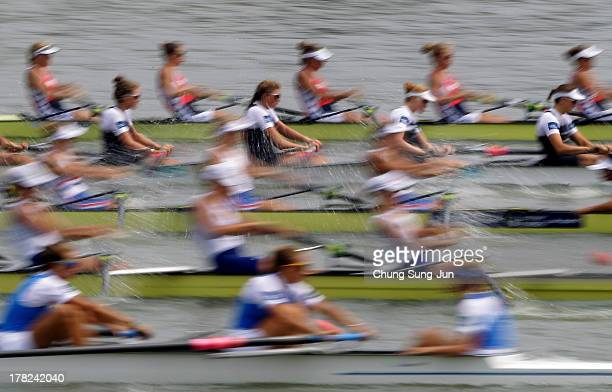 Netherlands New Zealand Great Britain Russia and Italy compete in the Women's Eight repechage during day four of the 2013 World Rowing Championships...