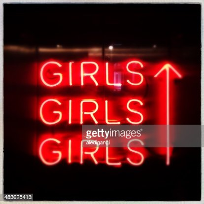 Netherlands, North Holland, Amsterdam, Orange neon 'girls