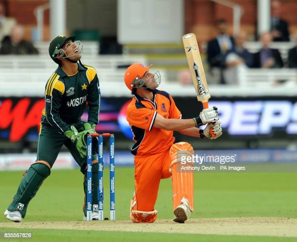 Netherland's Peter Borren is caught by Pakistan's Salman Butt off the bowling of Saeed Amjal during the ICC World Twenty20 match at Lord's Cricket...