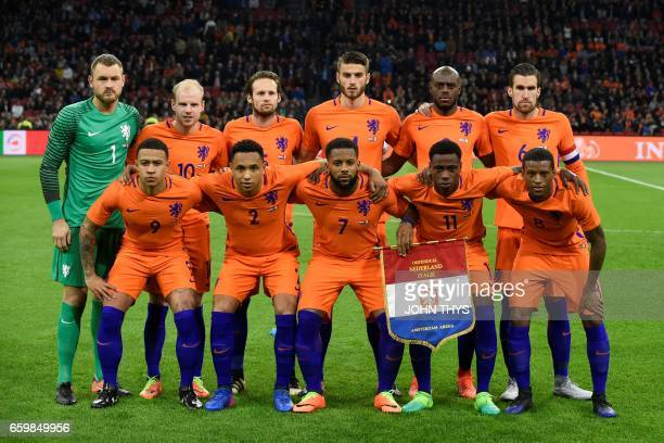 Netherlands player pose before the Friendly football match between Netherlands and Italy at the Arena Stadium on March 28 2017 in Amsterdam...