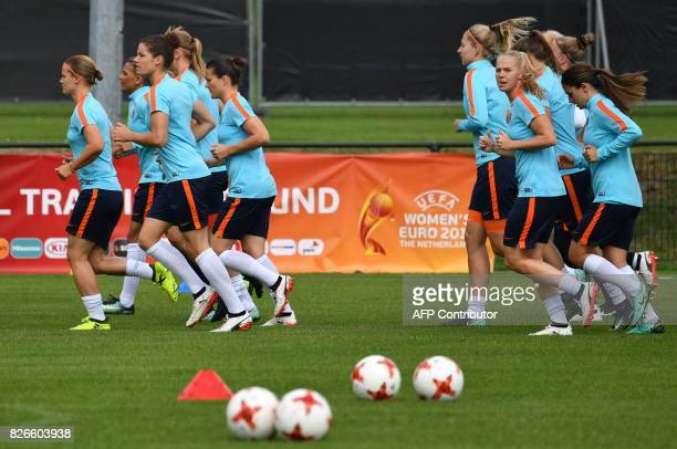 Netherlands players attend a training session in the eve of the UEFA Women's Euro 2017 football tournament final match against Denmark in De Lutte on...