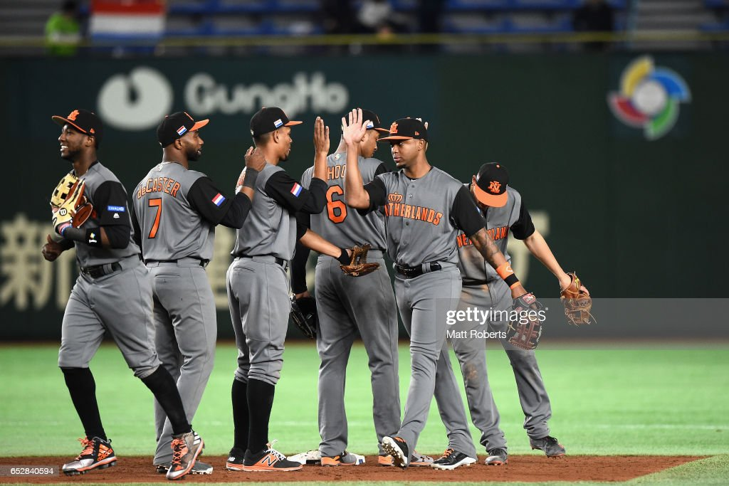 Netherlands players celebrate their 12-2 victory in the World Baseball Classic Pool E Game Three between Netherlands and Israel at the Tokyo Dome on March 13, 2017 in Tokyo, Japan.