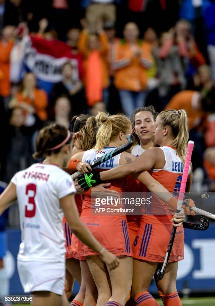Netherlands players celebrate their second goal during the women's Rabo Euro Hockey Championships 2017 match between The Netherlands and Spain in...