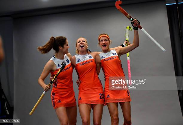 Netherlands players joke with one another during a player portrait photo session for FINTRO Hockey World League on June 23 2017 in Brussels Belgium...