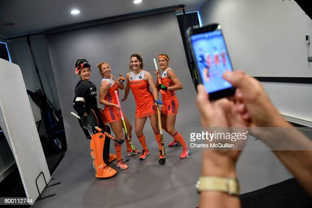 Netherlands players pose during a player portrait photo session for FINTRO Hockey World League on June 23 2017 in Brussels Belgium The players are...