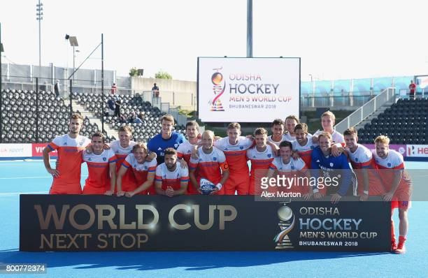 Netherlands players pose with the trophy after the final match between Argentina and the Netherlands on day nine of the Hero Hockey World League...
