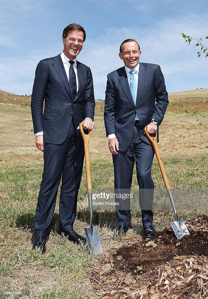 Netherlands Prime Minister <a gi-track='captionPersonalityLinkClicked' href=/galleries/search?phrase=Mark+Rutte&family=editorial&specificpeople=4509362 ng-click='$event.stopPropagation()'>Mark Rutte</a> and Australian Prime Minister <a gi-track='captionPersonalityLinkClicked' href=/galleries/search?phrase=Tony+Abbott&family=editorial&specificpeople=220956 ng-click='$event.stopPropagation()'>Tony Abbott</a> pose for media while planting a silver birch tree at the National Arboretum on November 7, 2014 in Canberra, Australia. Prime Minister Rutte is in Australia to discuss the MH17 flight crash that killed 298 passengers and crew on route to Amsterdam from Kuala Lumpur in July.