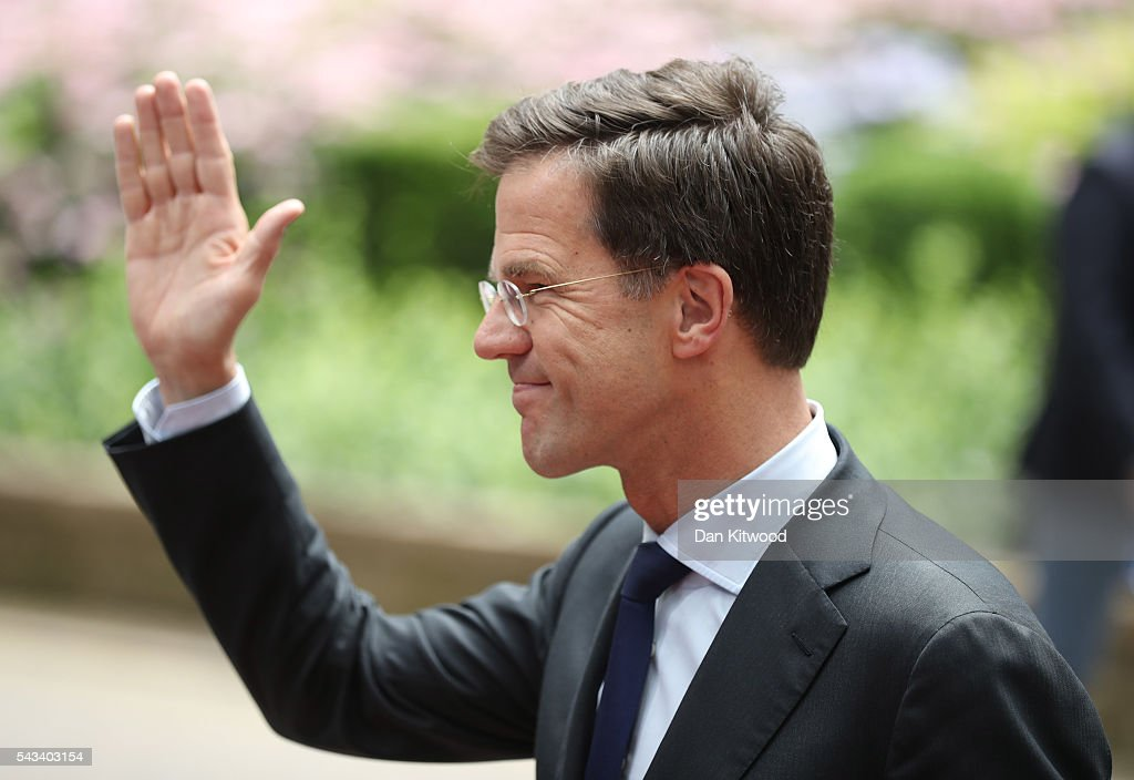 Netherlands Prime Minister <a gi-track='captionPersonalityLinkClicked' href=/galleries/search?phrase=Mark+Rutte&family=editorial&specificpeople=4509362 ng-click='$event.stopPropagation()'>Mark Rutte</a> arrives ahead of a European Council Meeting at the Council of the European Union on June 28, 2016 in Brussels, Belgium. British Prime Minister David Cameron will hold talks with other EU leaders in what will likely be his final scheduled meeting with the full European Council before he stands down as Prime Minister. The meetings come at a time of economic and political uncertainty following the referendum result last week which saw the UK vote to leave the European Union.