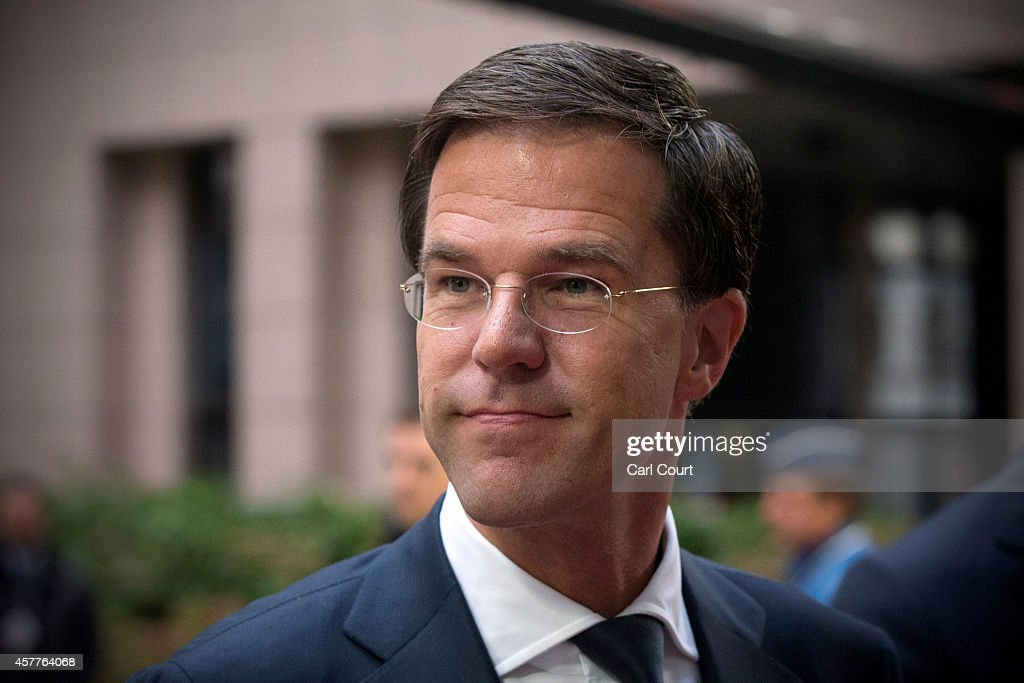 Netherlands Prime Minister Mark Rutte arrives at the headquarters of the Council of the European Union on the second day of a twoday European Council...