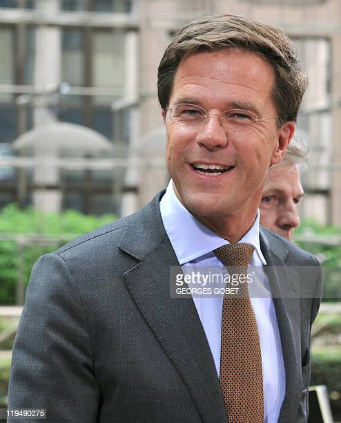 Netherlands Prime Minister Mark Rutte arrives for the EU summit on July 21 2010 at the European Council headquarters in BrusselsEurozone leaders...