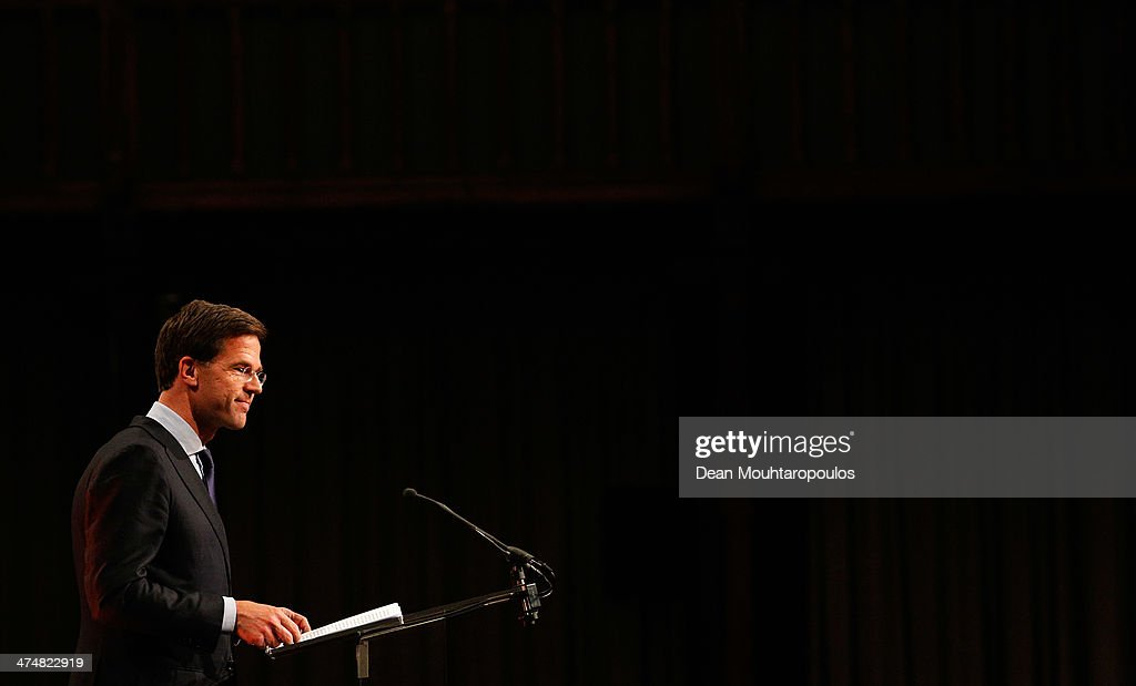 Netherlands' Prime Minister Mark Rutte speaks during the Welcome Home Reception Held For Dutch Winter Olympic Medalists held at the Ridderzaal on...