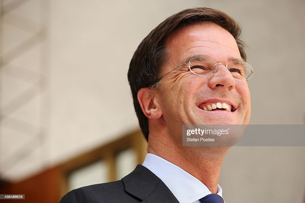 Netherlands Prime Minister Mark Rutte speaks to the media during a joint press conference with Australian Prime Minister Tony Abbott on November 6...