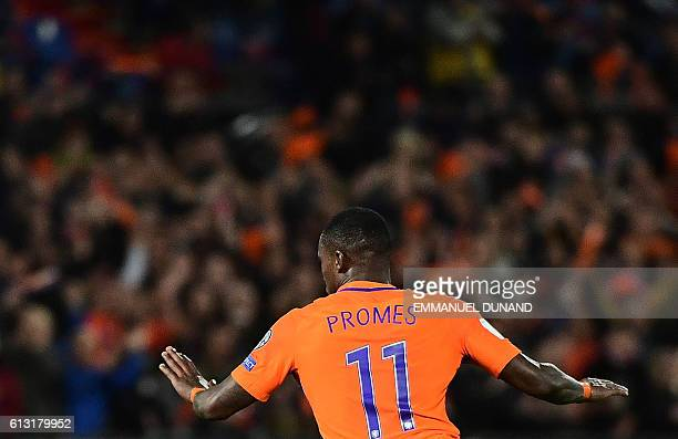 Netherlands' Quincy Promes celebrates after scoring his second goal during the Fifa World Cup 2018 football qualification match between The...