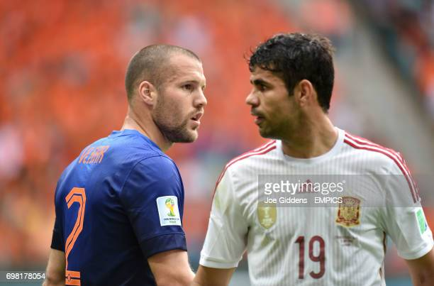 Netherland's Ron Vlaar and Spain's Diego Costa