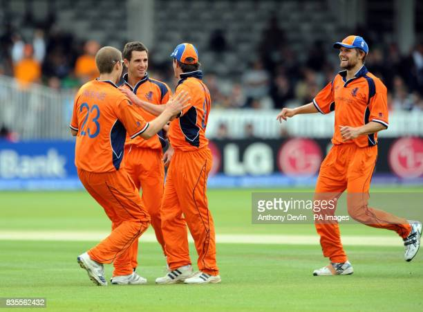 Netherland's Ryan ten Doeschate is congratulated after taking the wicket of Salman Butt during the ICC World Twenty20 match at Lord's Cricket Ground...