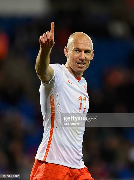 Netherlands scorer Arjen Robben celebrates the third Dutch goal during the friendly International match between Wales and Netherlands at Cardiff City...