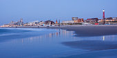 Netherlands, South Holland, The Hague, Scheveningen, beach and skyline