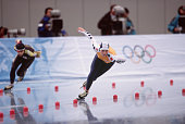 Netherlands speed skater Annamarie Thomas competes in the women's 1000m at MWave during the 1998 Winter Olympic games