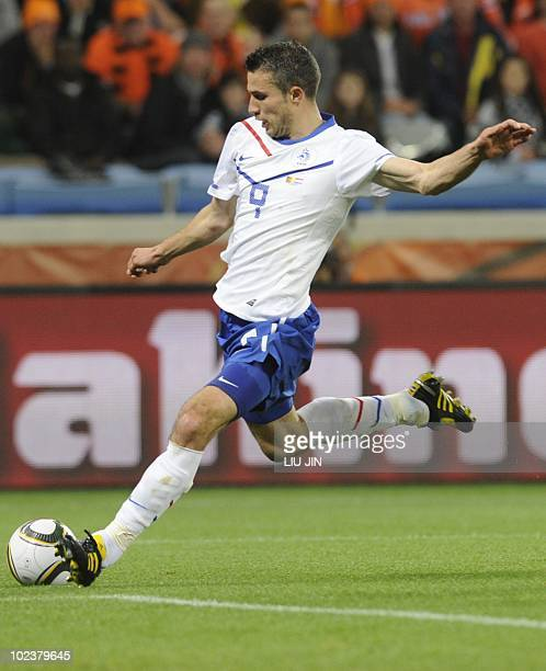Netherlands' striker Robin van Persie scores a goal during their Group E first round 2010 World Cup football match on June 24 2010 at Green Point...