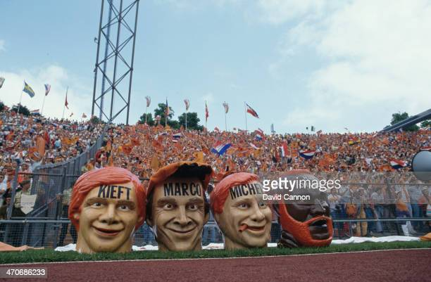Netherlands supporters during the UEFA European Championships 1988 Final between USSR and Netherlands held on June 25 1988 at the Olympiastadion in...