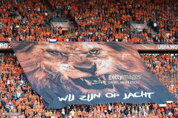 Netherlands supporters hold a banner before the UEFA Womens Euro 2017 football tournament semifinal match between Netherlands and England at the FC...