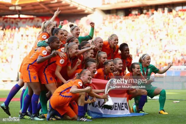Netherlands team celebrate after winning the Final of the UEFA Women's Euro 2017 between Netherlands v Denmark at FC Twente Stadium on August 6 2017...
