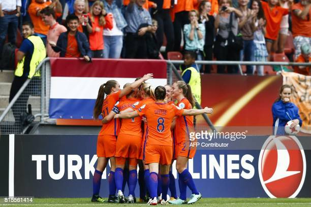 Netherland's team celebrates after winning the UEFA Women's Euro 2017 football tournament match between Norway and The Netherlands at Galgenwaard...