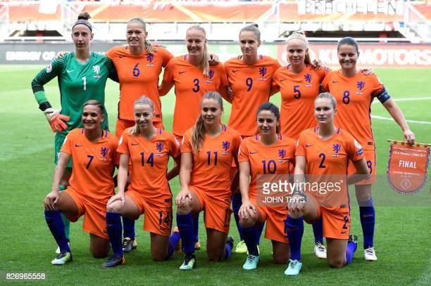 Netherlands' team players forward Shanice van de Sanden midfielder Jackie Groenen midfielder Lieke Martens midfielder Danielle van de Donk and...