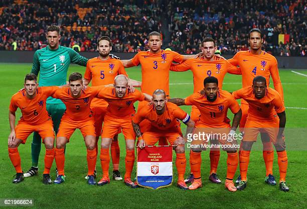 Netherlands team up prior to the international friendly match between Netherlands and Belgium at Amsterdam Arena on November 9 2016 in Amsterdam...