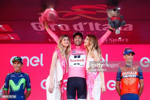 Netherlands' Tom Dumoulin of team Sunweb celebrates on the podium after winning the 100th Giro d'Italia Tour of Italy cycling race after the last...