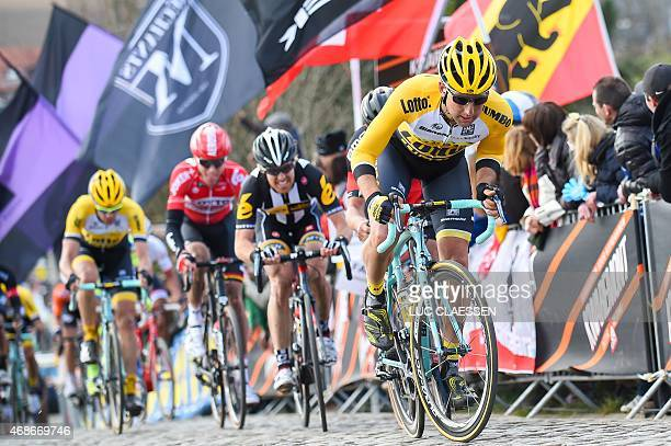 Netherlands' Tom Leezer of Team LottoNLJumbo and US Tyler Farrar of MTNQhubeka compete on the Paterberg during the 99th 'Ronde van Vlaanderen Tour...
