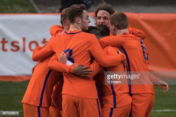 Netherlands U19 celebrate the goal of Justin Kluivert of Netherlands U19during the UEFA EURO 2017 qualifying match between Netherlands U19 and...