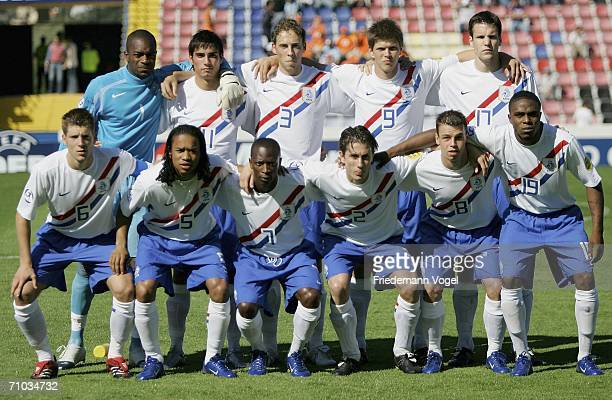 Netherlands U21s line up prior to the UEFA U21s Championship Group B match between Ukraine and Netherlands at the Muncipal Stadium on May 24 2006 in...