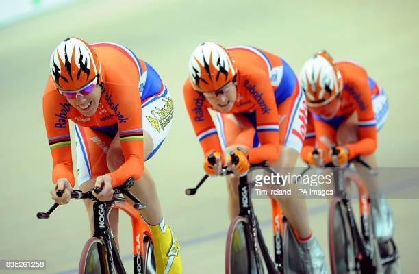 Netherlands' Vera Koedooder Amy Pieters and Eleonora Van Dijk during the Women's Team Pursuit at the 2009 UCI World Track Cycling Championships at...