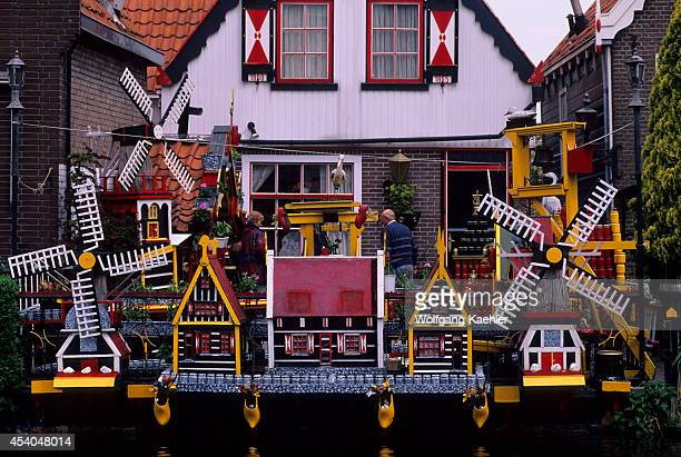 Netherlands Volendam Local House With Model Windmills