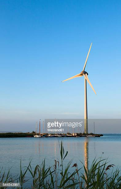 Netherlands, Waterland, wind turbine at the Ijsselmeer