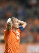 Netherlands' Wesley Sneijder reacts during the UEFA Euro 2016 qualifying round football match between Netherlands and Iceland at the Arena Stadium on...