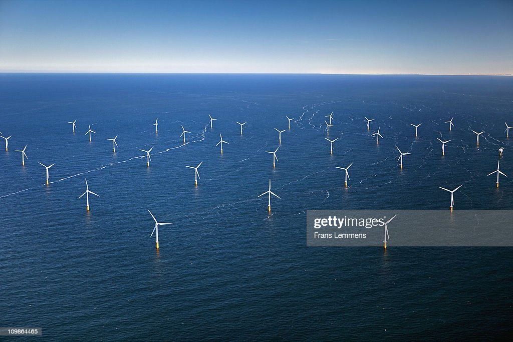 Netherlands, Wind Park in North Sea : Stock Photo
