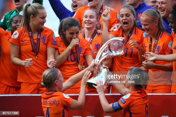 Netherlands women celebrate winning with the trophy after the UEFA Women's Euro 2017 final match between Denmark and Netherlands at De Grolsch Veste...