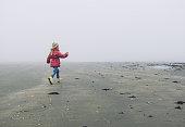 Netherlands, Zeeland, Ritthem, Little girl (2-3) on misty beach
