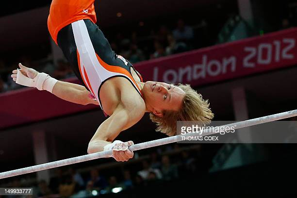 Netherlands's gymnast Epke Zonderland performs during the men's horizontal bar final of the artistic gymnastics event of the London Olympic Games on...