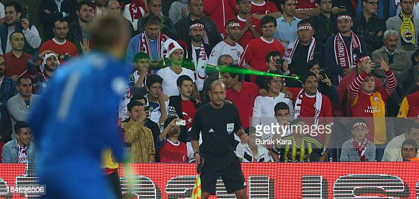 Netherlans goalkeeper Jasper Cillessen targeted with a laser pointer by a Turkish supporter during the during FIFA 2014 World Cup Qualifier match at...
