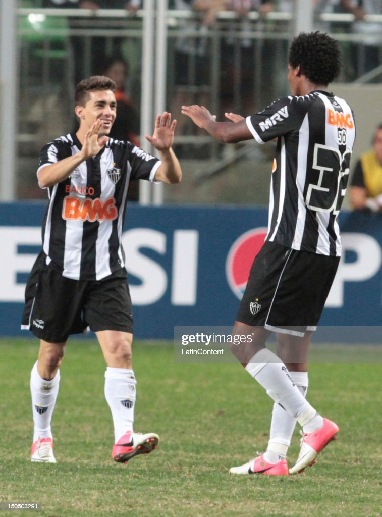 Neto Berola of Atletico MG celebrates a goal during a match between Botafogo and Atletico MG as part ot the Brazilian Championship at Independence Stadium on August 19, 2012 in Belo Horizonte, Brazil.