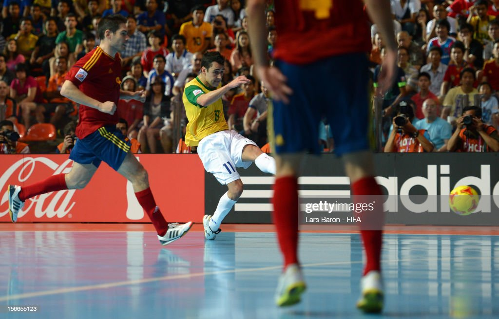 Neto of Brazil scores his teams winning goal during the FIFA Futsal World Cup Final at Indoor Stadium Huamark on November 18 2012 in Bangkok Thailand