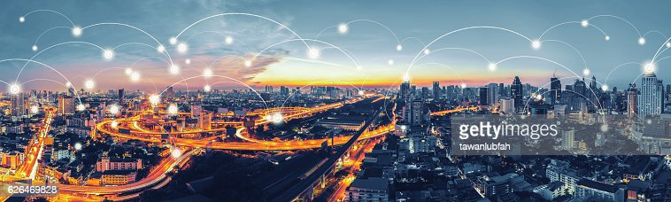 Network and Connection technology concept with Bangkok Expresswa : Stock Photo